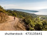 mountain biker riding on bike... | Shutterstock . vector #473135641
