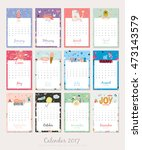 cute calendar template for 2017.... | Shutterstock .eps vector #473143579
