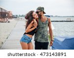 happy young couple in love... | Shutterstock . vector #473143891