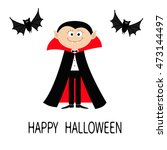 count dracula wearing black and ... | Shutterstock .eps vector #473144497