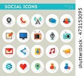 trendy detailed social icon set