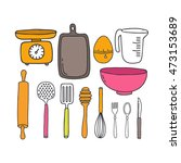 doodle icons. kitchen... | Shutterstock .eps vector #473153689