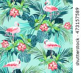 tropical summer seamless... | Shutterstock . vector #473157589