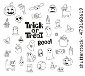 cute trick or treat halloween... | Shutterstock .eps vector #473160619