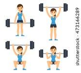 cartoon woman barbell training. ...   Shutterstock .eps vector #473166289