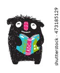monster reading abc book... | Shutterstock .eps vector #473185129