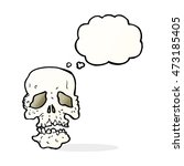 cartoon skull with thought...   Shutterstock . vector #473185405