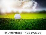 golf ball on sunset cloud sky... | Shutterstock . vector #473193199