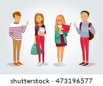vector students with gadgets... | Shutterstock .eps vector #473196577