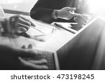 Stock photo business team present black and white professional investor working startup project finance 473198245