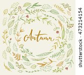 autumn calligraphy with flowers ...   Shutterstock .eps vector #473214154