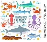 vector seafood illustration... | Shutterstock .eps vector #473218339