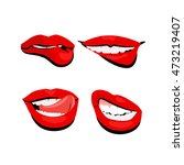 vector set colored red lips... | Shutterstock .eps vector #473219407