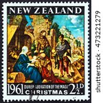 """Small photo of NEW ZEALAND - CIRCA 1961: A stamp printed in New Zealand from the """"Christmas """" issue shows Adoration of the Magi by Albrecht Durer, circa 1961."""