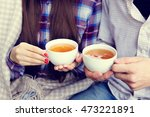 young man and woman holding a... | Shutterstock . vector #473221891