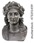 Small photo of Ancient bronze statue of Dionysus isolated on a white background. Dionysus is the Olympian God of the grape harvest, wine and merriment. He was also known as Bacchus.