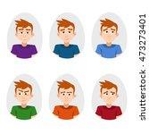 cartoon set avatars with the... | Shutterstock .eps vector #473273401