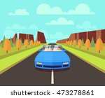 car on road with outdoor... | Shutterstock .eps vector #473278861