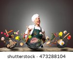 chef juggling with vegetables... | Shutterstock . vector #473288104