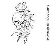 Skull With Roses On A White...