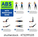 abs workout with resistance... | Shutterstock .eps vector #473299105
