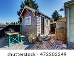 small shed in the back yard of... | Shutterstock . vector #473302249