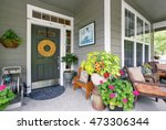 cozy entrance porch with flower ... | Shutterstock . vector #473306344