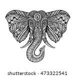 ethnic ornamented elephant.... | Shutterstock .eps vector #473322541