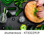 hands making a green smoothie... | Shutterstock . vector #473322919