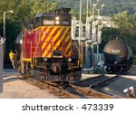 Freight train at work - stock photo