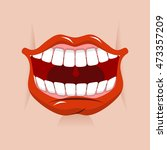 cheerful smile. red lips and... | Shutterstock .eps vector #473357209