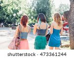 girl friends walking together... | Shutterstock . vector #473361244