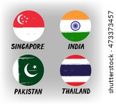 Set Of 4 Flags   Round Icons  ...