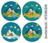 seasons landscape set. solitude ... | Shutterstock .eps vector #473380309