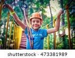 happy boy on the zip line.... | Shutterstock . vector #473381989
