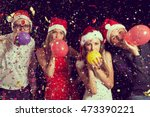 four young people at new year's ... | Shutterstock . vector #473390221