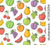 fruit sticker seamless...   Shutterstock . vector #473392054