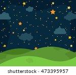 cute vector nighttime landscape ...   Shutterstock .eps vector #473395957