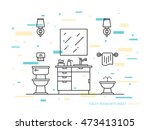 bathroom with sink  bowl  bidet ... | Shutterstock .eps vector #473413105