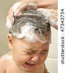one year old baby girl washing... | Shutterstock . vector #47343754