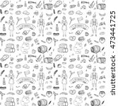 seamless pattern hand drawn... | Shutterstock .eps vector #473441725
