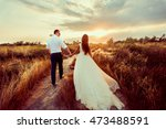 back view of romantic couple of ... | Shutterstock . vector #473488591