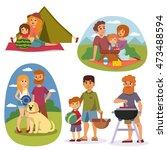 family picnicking summer happy... | Shutterstock .eps vector #473488594
