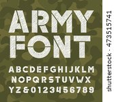 army alphabet font. scratched... | Shutterstock .eps vector #473515741