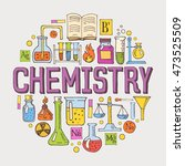chemistry hand drawn colorful... | Shutterstock .eps vector #473525509