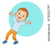 vector happy curly haired boy... | Shutterstock .eps vector #473531797