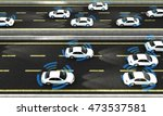 autonomous cars on a road with... | Shutterstock . vector #473537581
