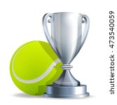 silver trophy cup with a tennis ... | Shutterstock .eps vector #473540059
