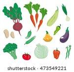 vegetables. set of simple color ... | Shutterstock .eps vector #473549221
