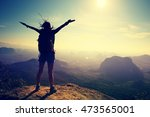silhouette of free cheering... | Shutterstock . vector #473565001